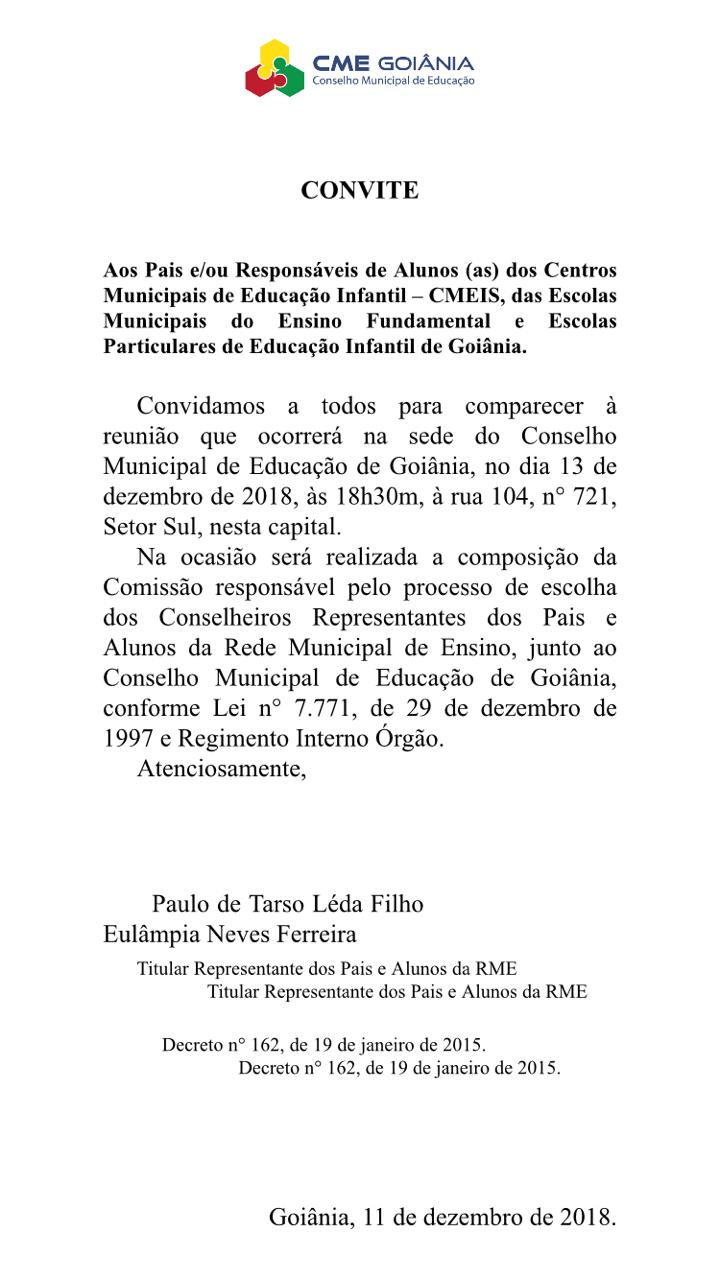 Convite Reunião De Representantes De Pais E Conselheiros Sinpro Goiás